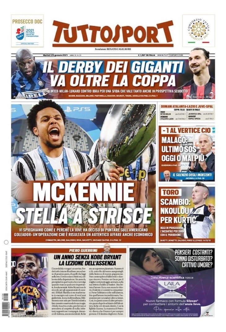 Рождены для Дерби. Заголовки Gazzetta, TuttoSport и Corriere за 26 января