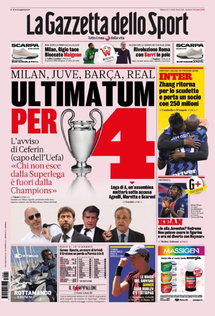 Ультиматум для 4. Заголовки Gazzetta, TuttoSport и Corriere за 24 апреля