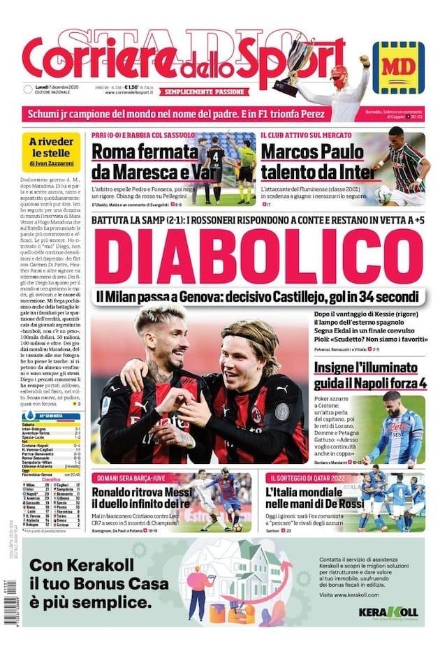 Миланиссимо. Заголовки Gazzetta, TuttoSport и Corriere за 7 декабря