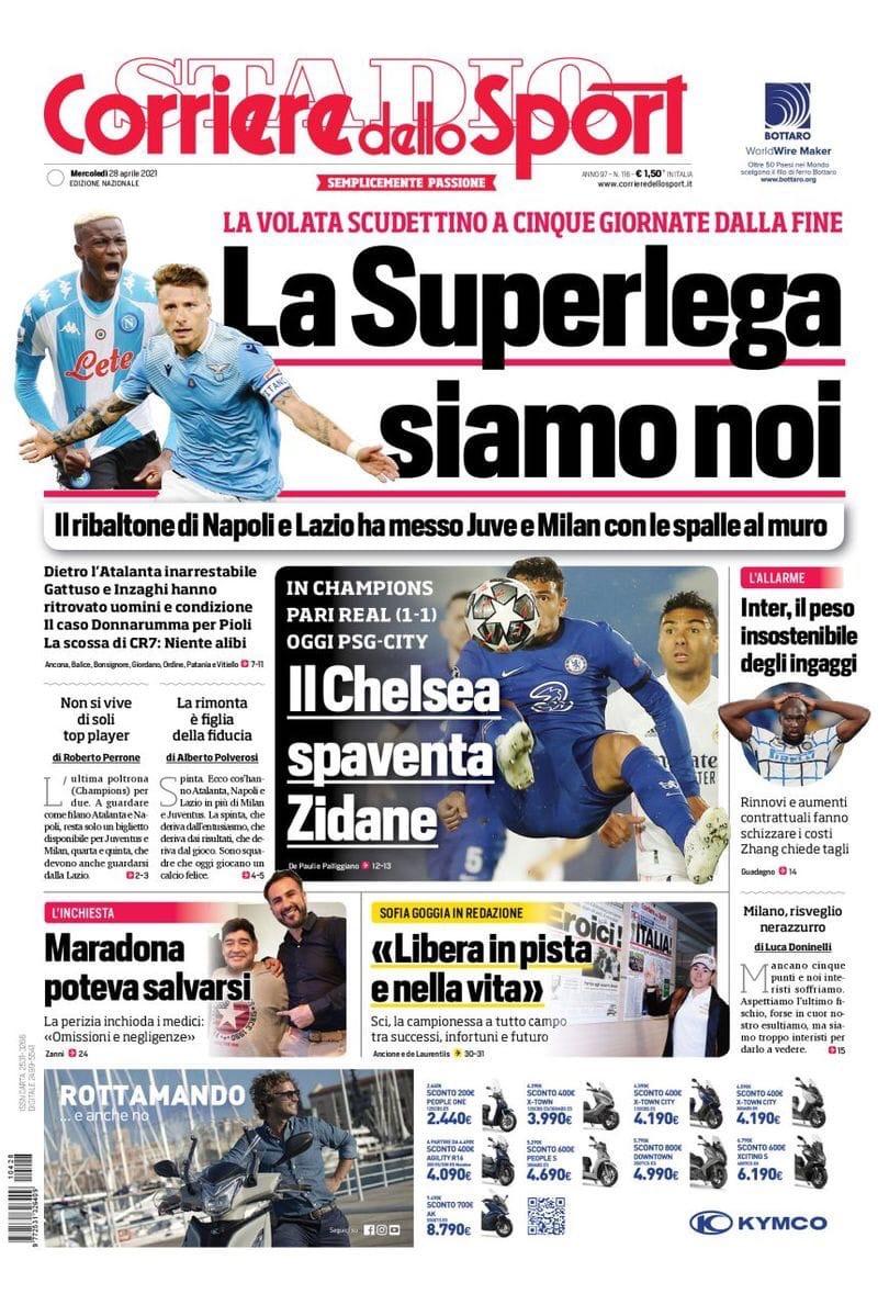 Охота за золотом: 60 миллионов. Заголовки Gazzetta, TuttoSport и Corriere за 28 апреля