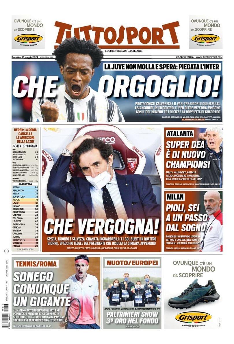 Надежда на Куадрадо. Заголовки Gazzetta, TuttoSport и Corriere за 16 мая