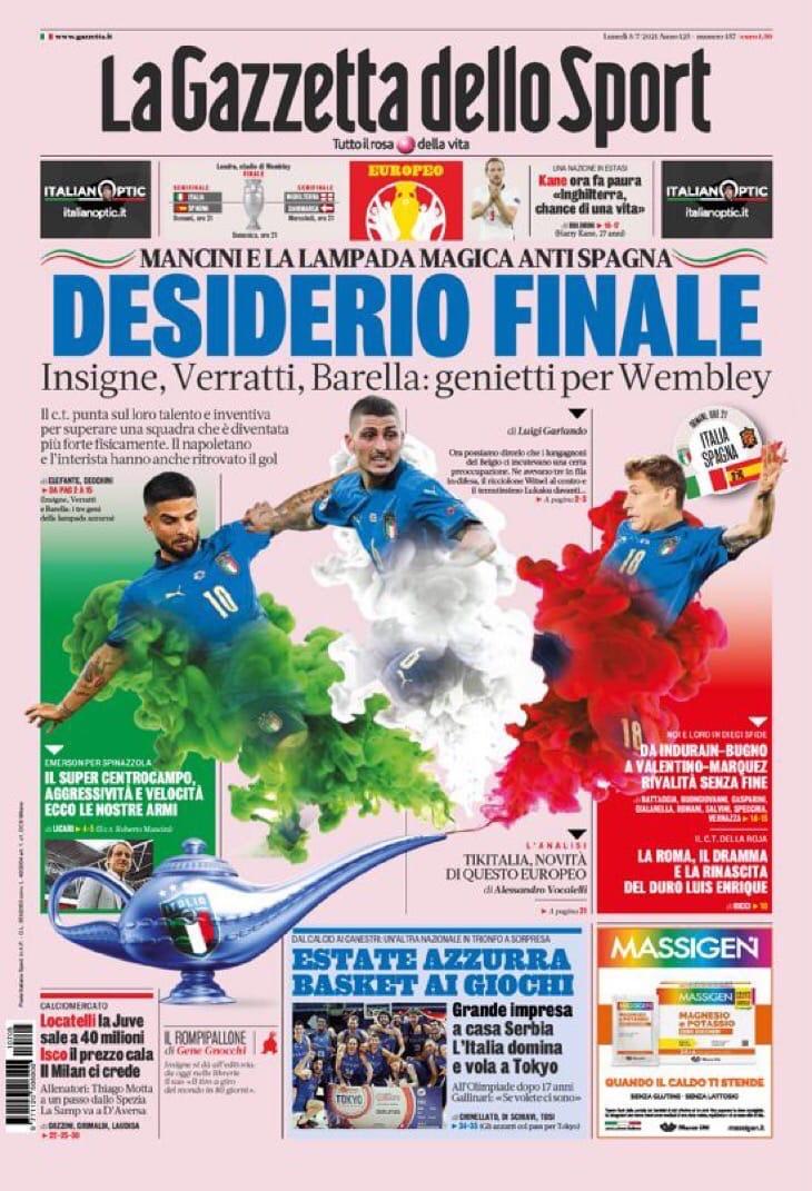 Золотая Италия. Заголовки Gazzetta, TuttoSport и Corriere за 5 июля