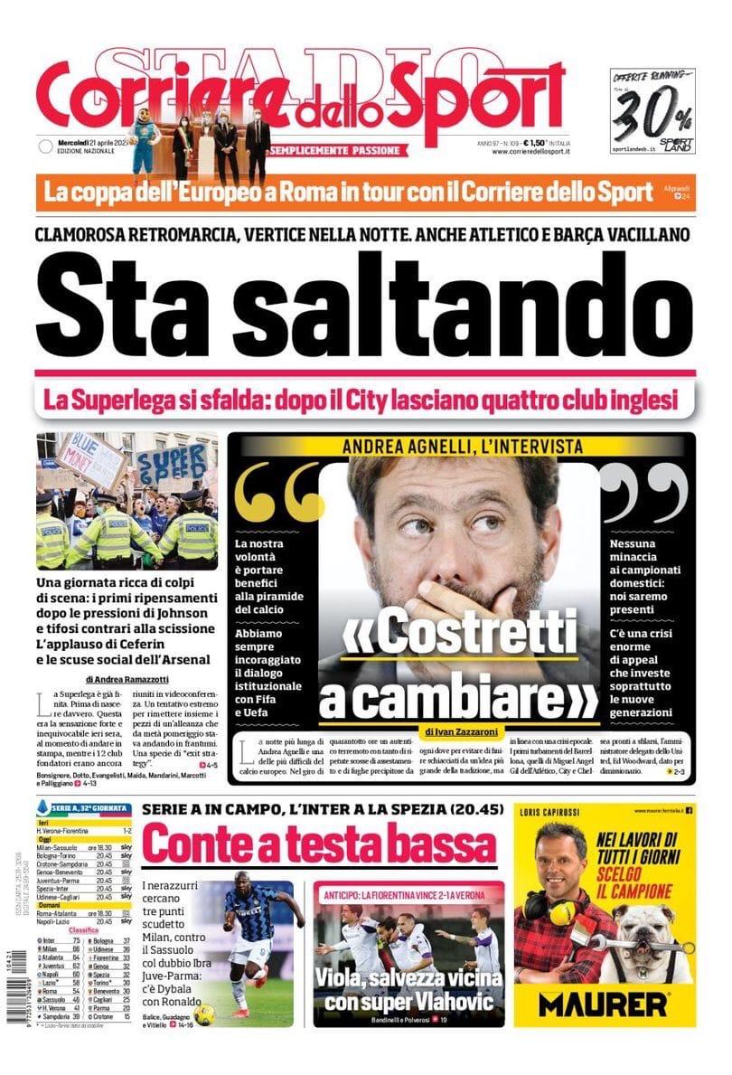 СуперПровал! Заголовки Gazzetta, TuttoSport и Corriere за 21 апреля