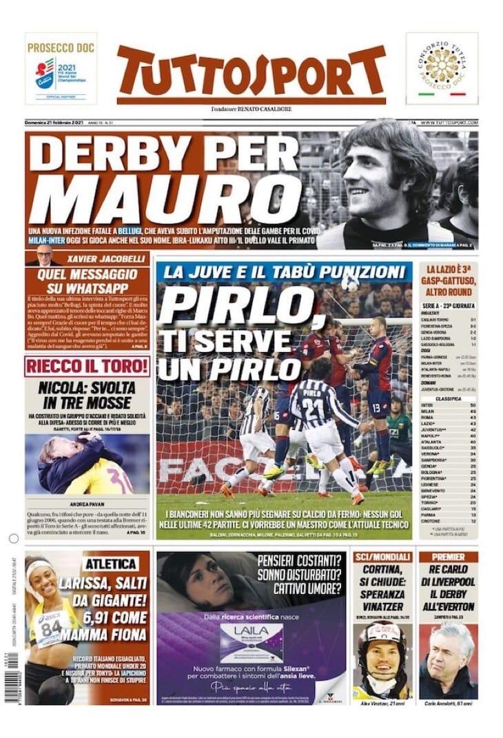 Дербиамо. Заголовки Gazzetta, TuttoSport и Corriere за 21 февраля