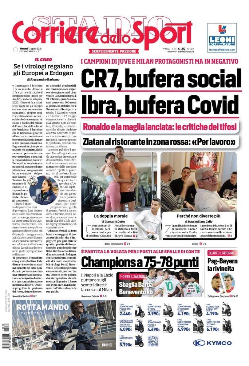 Бомбардиры рынка. Заголовки Gazzetta, TuttoSport и Corriere за 13 апреля