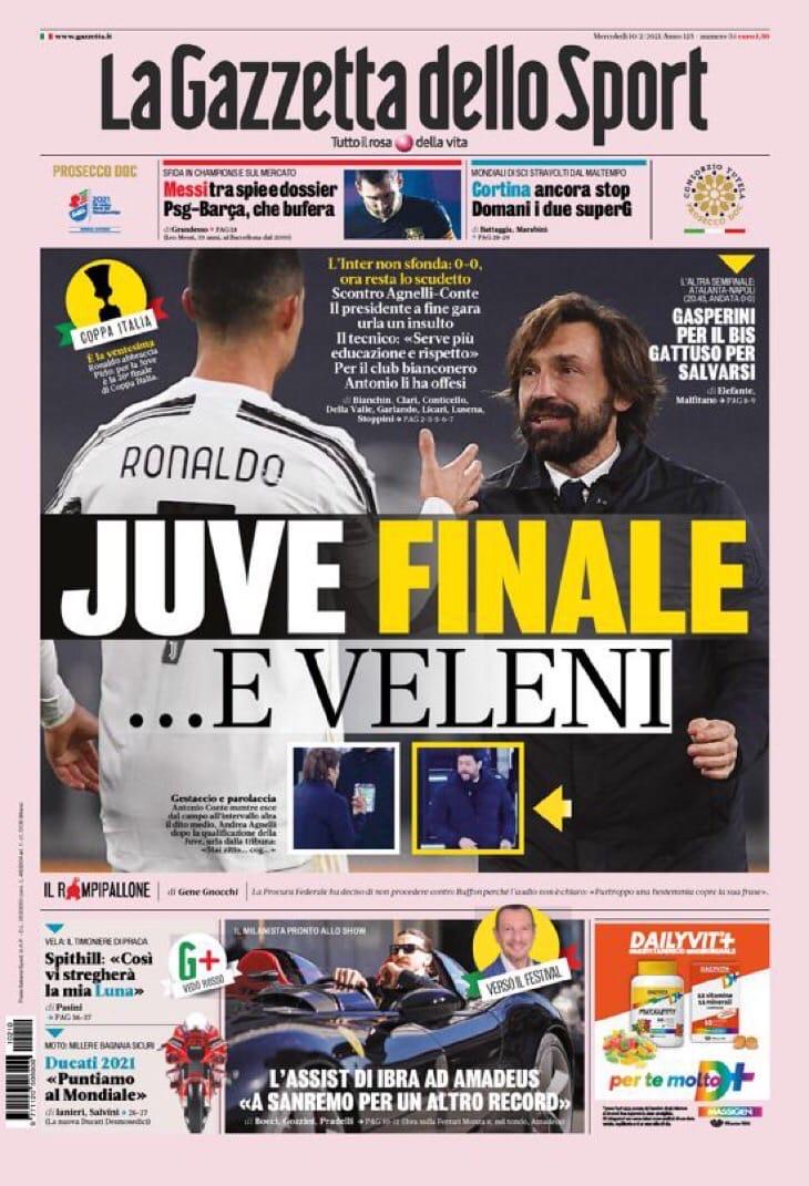 Стальной «Юве». Заголовки Gazzetta, TuttoSport и Corriere за 10 февраля