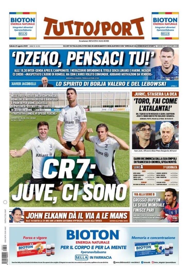 Чемпионат Чемпионов. Заголовки Gazzetta, TuttoSport и Corriere за 21 августа