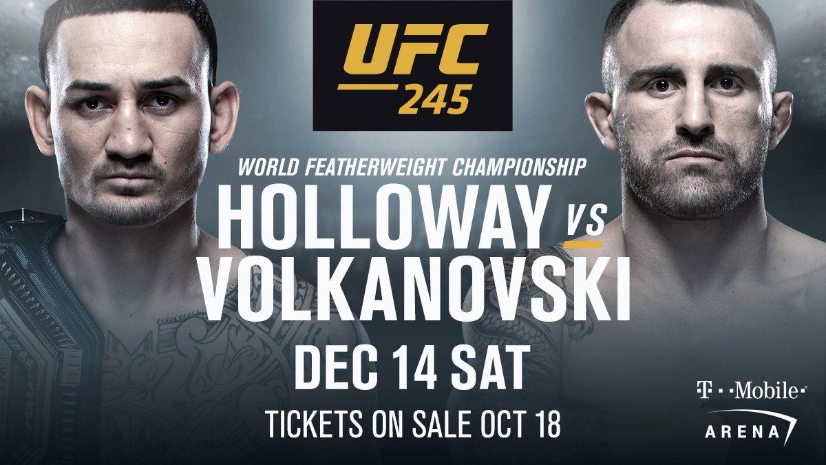 UFC, Макс Холлоуэй, Алекс Волкановски, MMA, UFC 245
