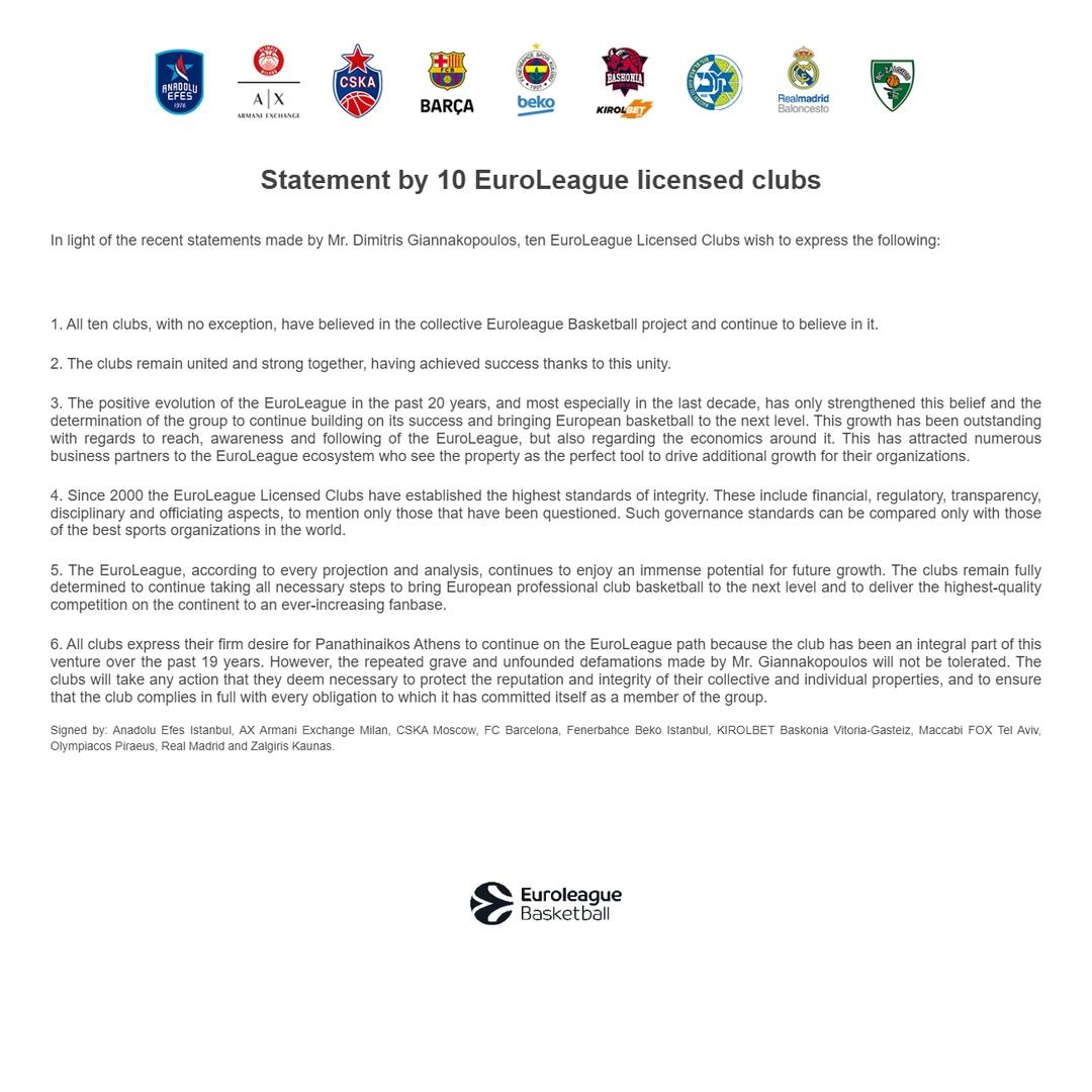 Заявление 10 клубов-обладателей лицензий Евролиги