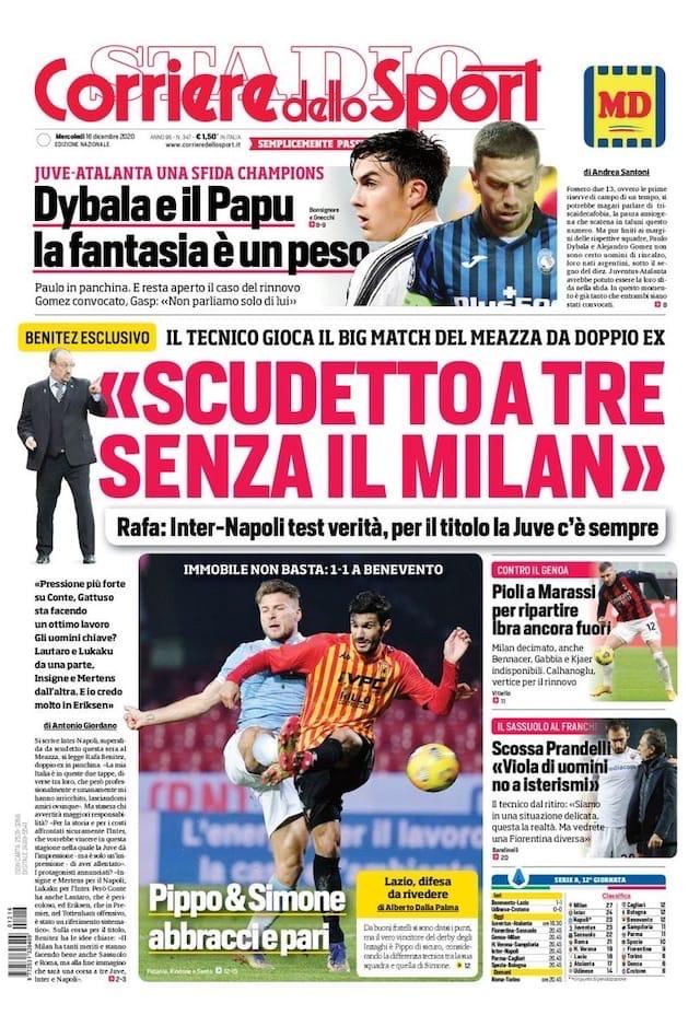 Богатое место. Заголовки Gazzetta, TuttoSport и Corriere за 16 декабря