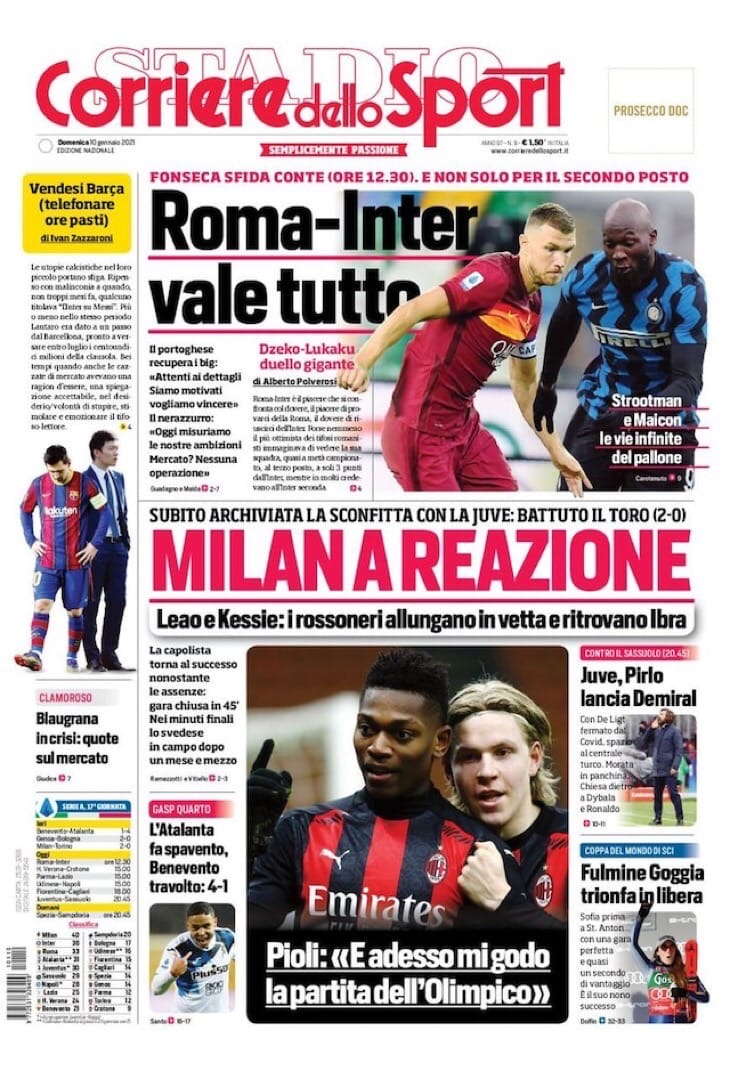 «Милан» отреагировал. Заголовки Gazzetta, TuttoSport и Corriere за 10 января