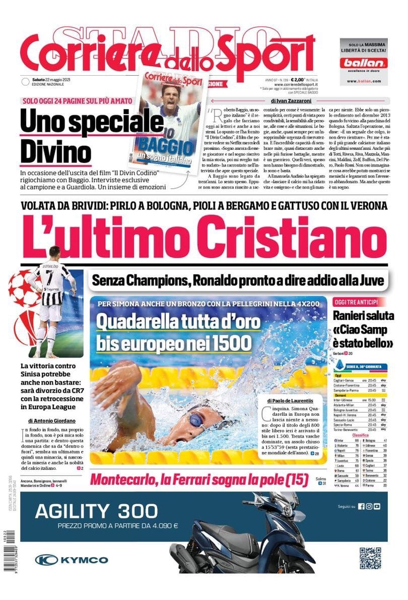 Встряска! Заголовки Gazzetta, TuttoSport и Corriere за 22 мая