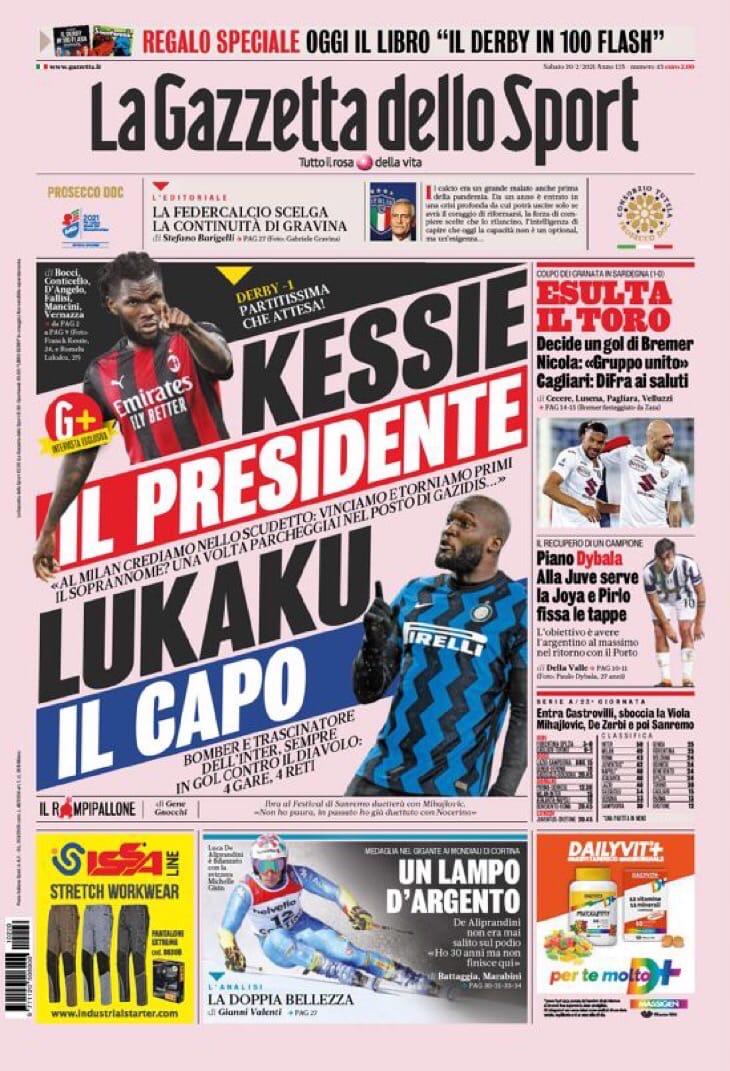 Кессье – президент, Лукаку – глава. Заголовки Gazzetta, TuttoSport и Corriere за 20 февраля