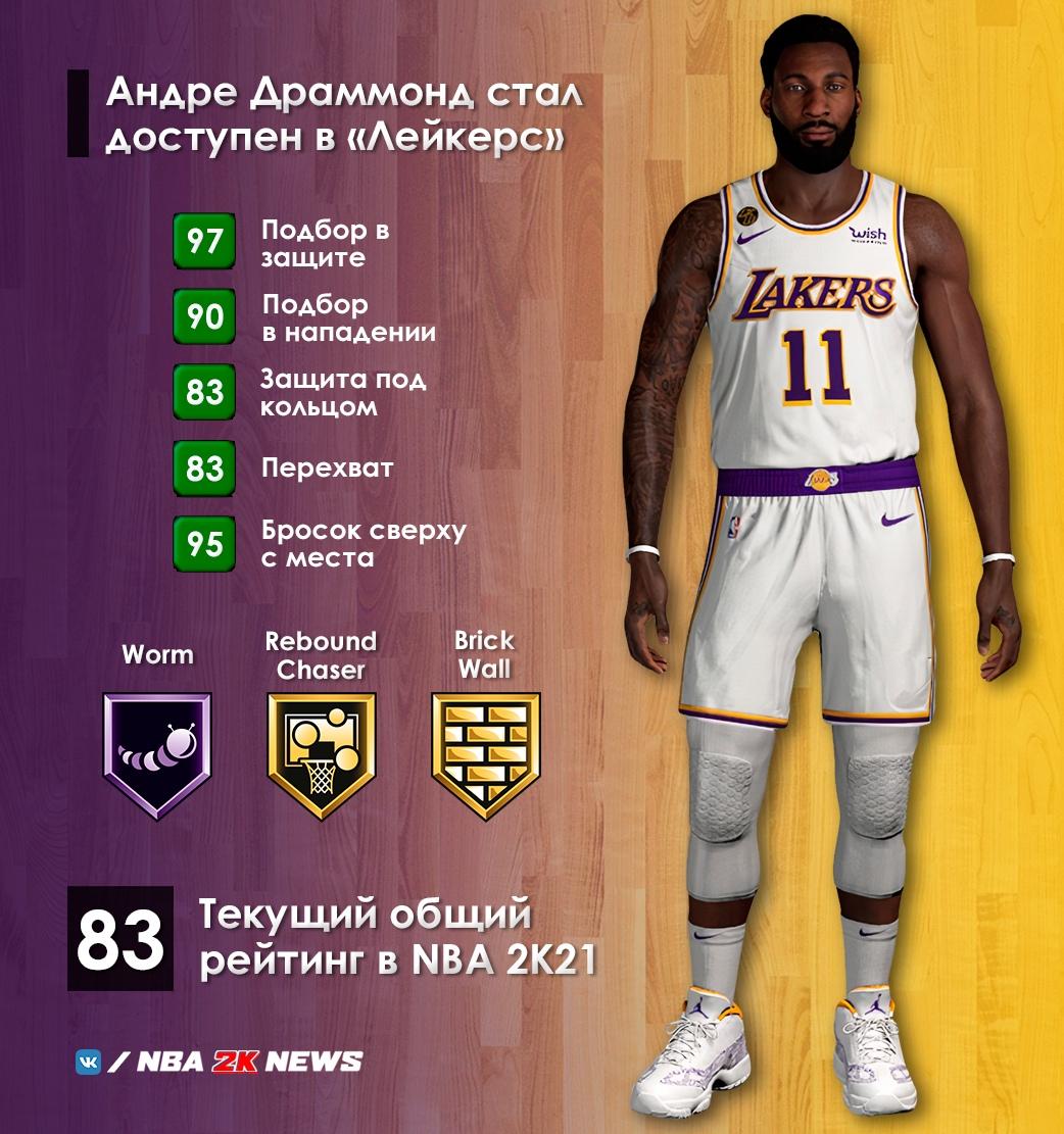 Лейкерс, NBA 2K, Андре Драммонд
