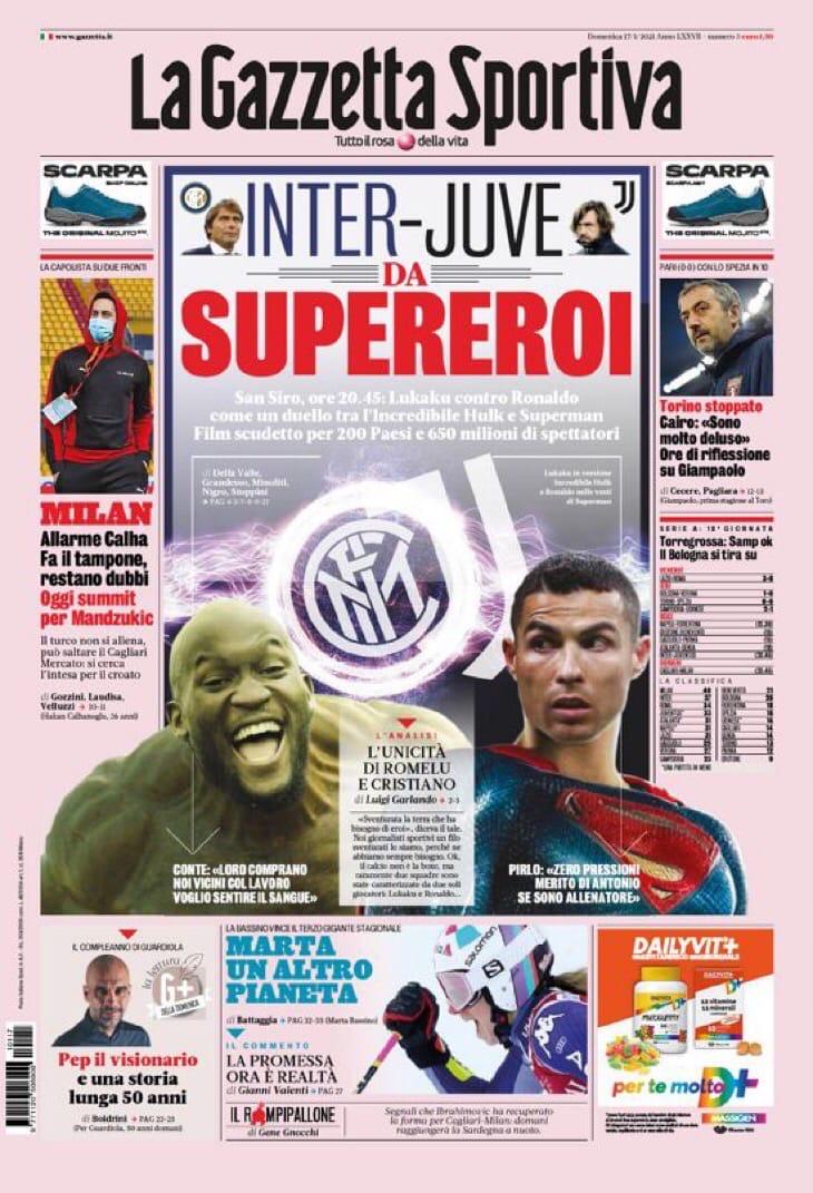Беда тому, кто проиграет! Заголовки Gazzetta, TuttoSport и Corriere за 17 января
