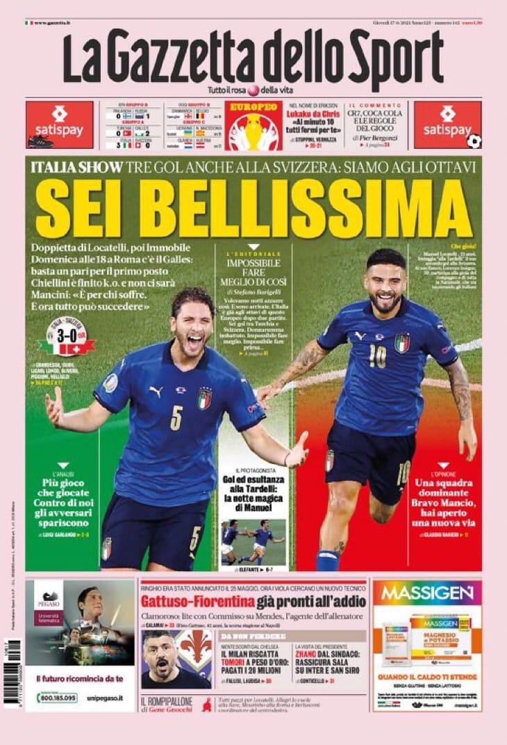 Сумасшедшая радость. Заголовки Gazzetta, TuttoSport и Corriere за 17 июня