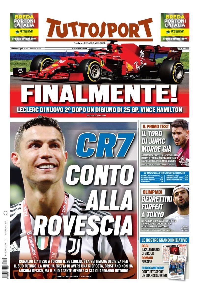 CR7, обратный отсчёт. Заголовки Gazzetta, TuttoSport и Corriere за 19 июля