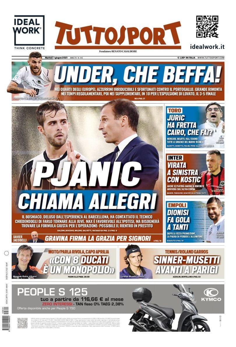 Пьянич звонит Аллегри. Заголовки Gazzetta, TuttoSport и Corriere за 1 июня