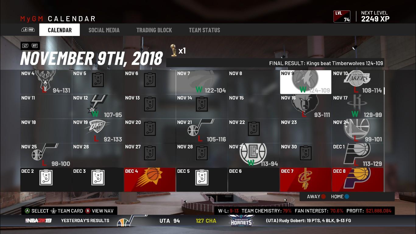 My NBA2K19: первые просмотры новичков и результаты работы ноября
