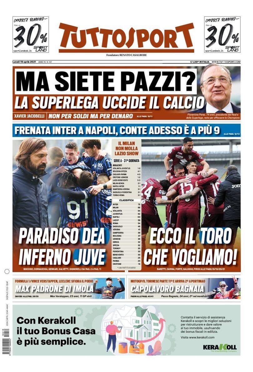 Только «Юве» терпит крах. Заголовки Gazzetta, TuttoSport и Corriere за 19 апреля