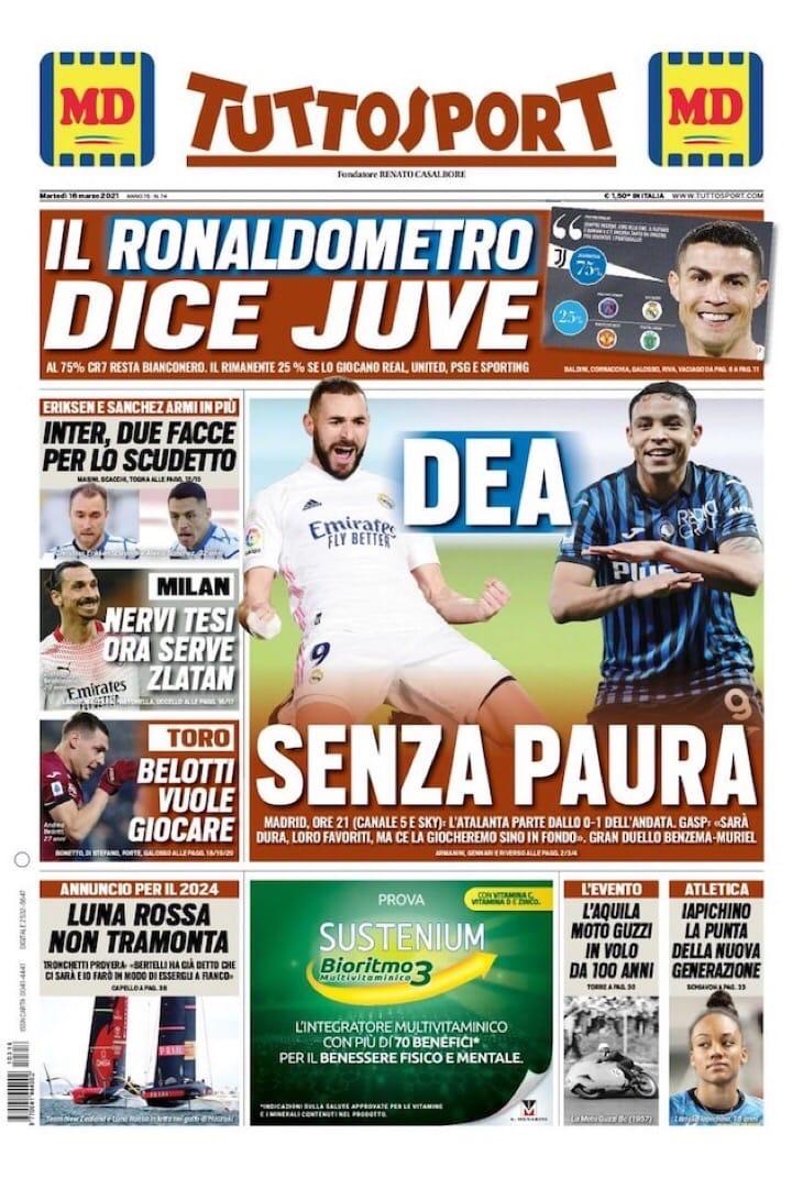 «Богиня» без страха. Заголовки Gazzetta, TuttoSport и Corriere за 16 марта