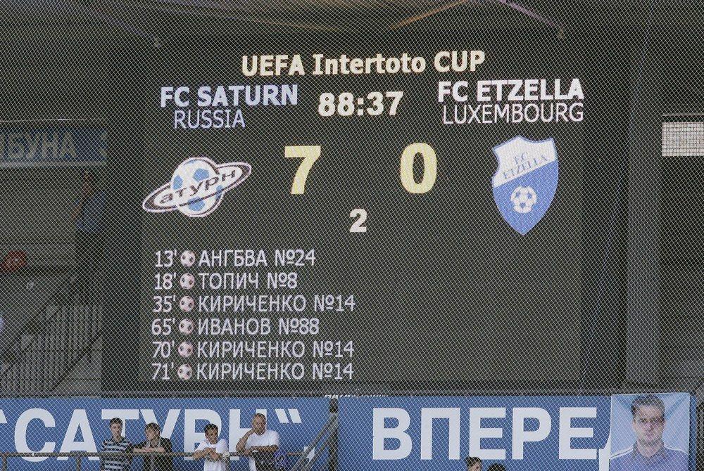 13 лет назад раменский «Сатурн» провел первый матч в еврокубках. Выиграл 7:0